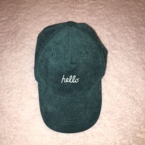 Dark Green Corduroy Hello Goodbye Cap